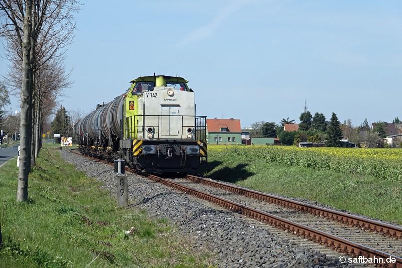 V142 fährt mit ihrer Wagengruppe am blühenden Rapsfeld bei Heideloh vorüber.