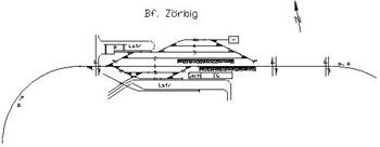 Bahnhofsgleise von Zörbig. Rechts aus Richtung Bitterfeld kommend.
