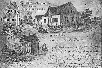 Postkarte von Tannepöls, um 1904. Links unten der Bahnhof mit einem Personenzug