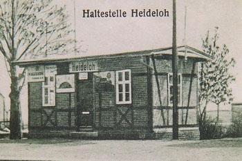 Haltepunkt Heideloh mit seiner Wartehalle um 1904.