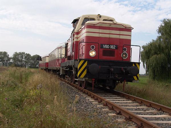 Für die BSW-Gruppe wird der historische Sonderzug mit V 60 162 in Wörlitz bereit gestellt.