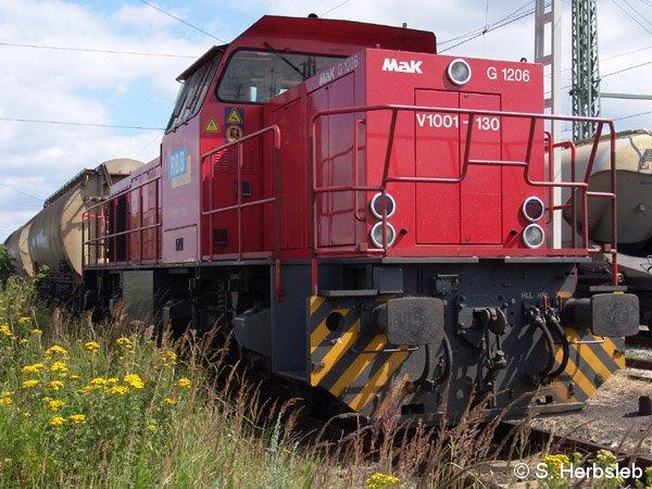Neben dichtem Gestrüpp steht V1001-130 mit einem langen Güterzug, abfahrbereit in Richtung Torgau.