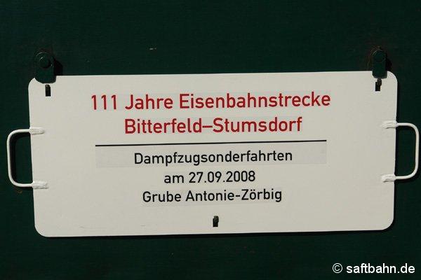 Zuglaufschild 111 Jahre Eisenbahnstrecke Bitterfeld-Stumsdorf.