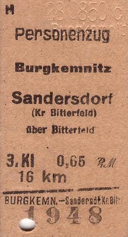 Lochfahrkarte von Burgkemnitz nach Sandersdorf. Sie war gültig am 23.08.1950.