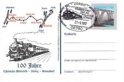 Der Philatelistenverein Zörbig, gab zum 100. Streckenjubiläum ein Postganzsache raus.