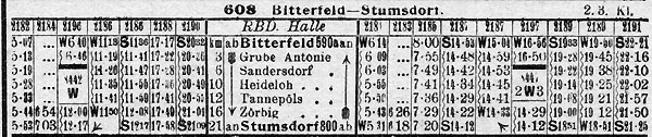 Fahrplan aus dem Reichkursbuch Winter 1929/1930
