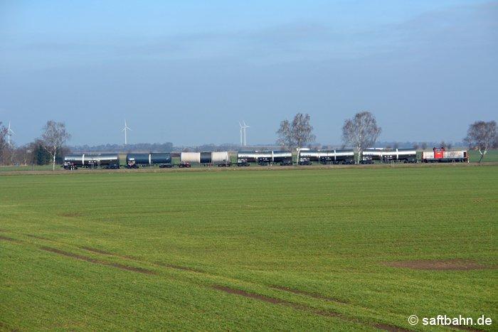 Bei frühlingshaftem Wetter zog die Regiobahn-Lok V133 den kurzen Ethanolzug aus Zörbig am 04.03.2009 durch die grüne Ackerlandschaft bei Heideloh.