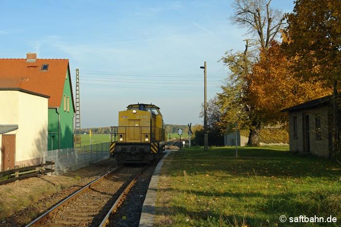 Am Nchmittag des 28.10.2011 durchfährt Lok V142 der Regiobahn Bitterfeld bei ihrer Rückfahrt nach Bitterfeld Nord den ehemaligen Haltepunkt in Heideloh. Sie brachte zuvor einen Getreidezug nach Zörbig.