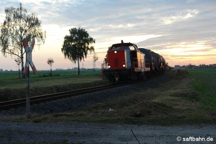 Feierabend-Stimmung auf der Saftbahnstrecke: Am frühen Abend des 22.09.2009 hat Lok V133 der RBB einen Alkoholzug aus Zörbig am Haken und konnte im letzten Tageslicht bei Heideloh aufgenommen werden.